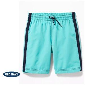 NWT Coral Blue Boys Side-Stripe Swim Trunks S 6-7